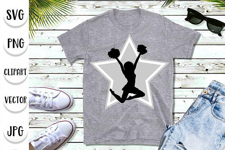 Cheerleader pompoms star svg