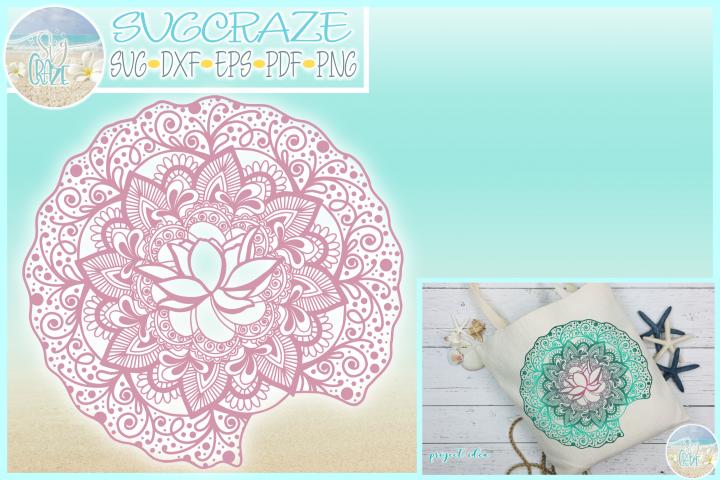 Lotus on Lily Pad Mandala Zentangle SVG Dxf Eps Png PDF