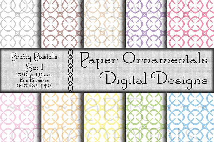 Pretty Pastels Set 1 Digital Paper For Crafts & Background