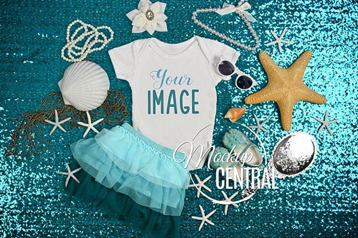 Mermaid Ocean Baby Onepiece Bodysuit Mockup Shirt Unicorn