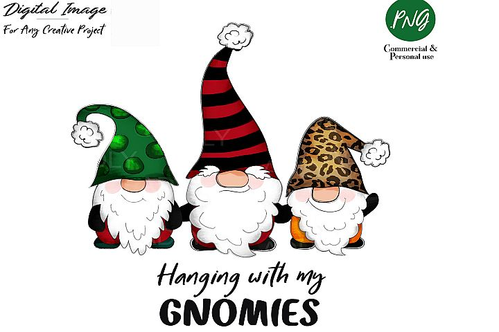 Gnome Christmas Sublimation clip art, hanging with my gnomie