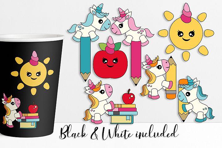 Unicorn illustrations - Back to school clip art