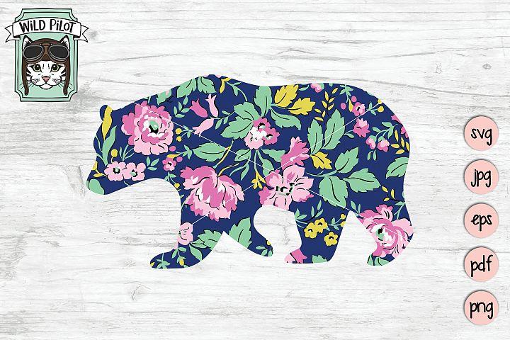 Floral Bear Silhouette, Bear Clip Art, Sublimation, Flowers