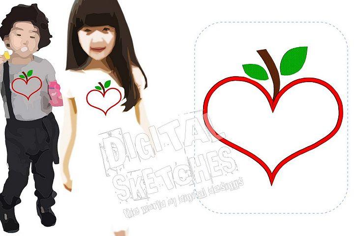 Heart Apple Applique Machine Embroidery Design 5 Sizes