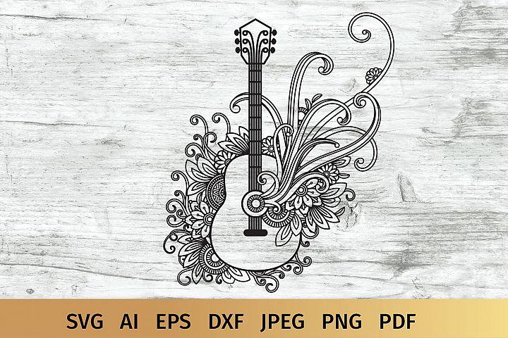 Floral Guitar SVG
