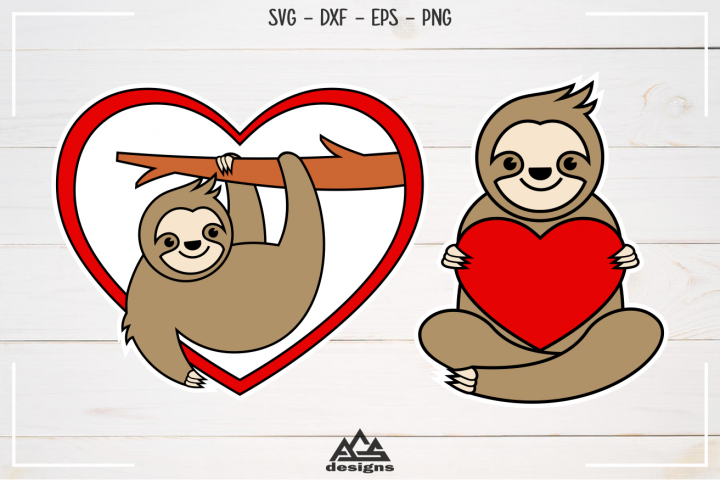 Sloth Love Valentine Svg Design