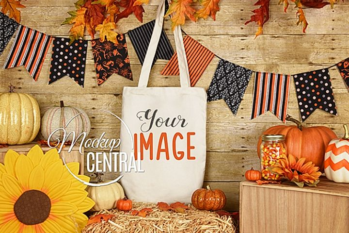 Rustic Fall Halloween Canvas Tote Bag Mockup, JPG Mock up