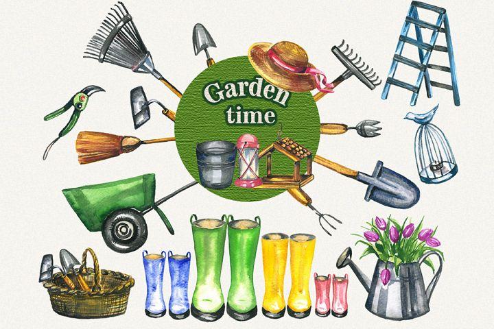 Garden clipart, spring clipart, garden tools, watercolor
