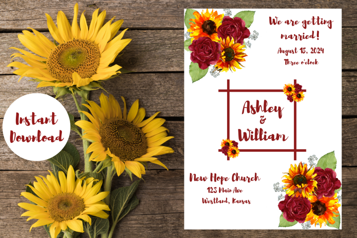 Sunflowers and Red Roses Wedding Invitation