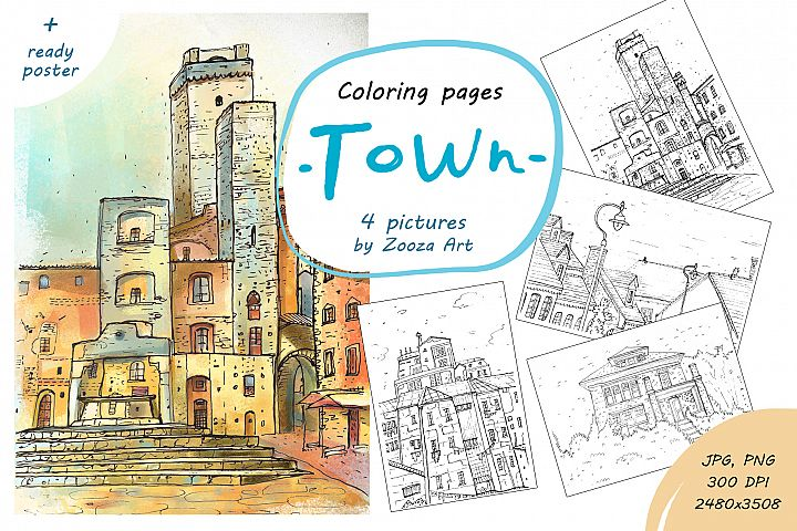 Coloring pages - TOWN - 4 illustrations