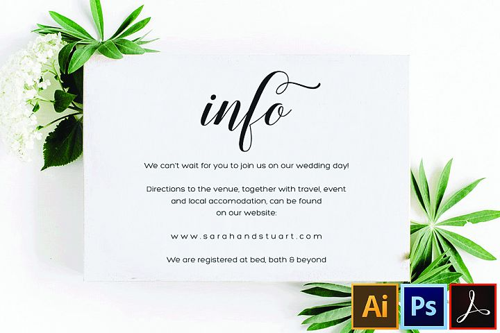 Printable Information Card, Wedding Details Card