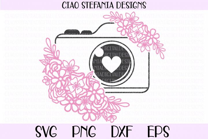 Camera With Flowers SVG Cut File