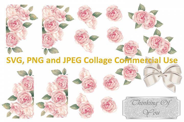 SVG, PNG and JPEG Roses Collage Commercial Use