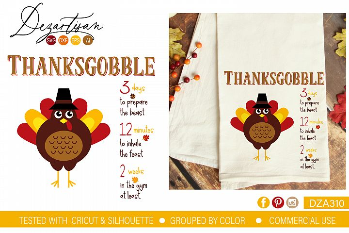 Thanksgobble SVG DXF cut file