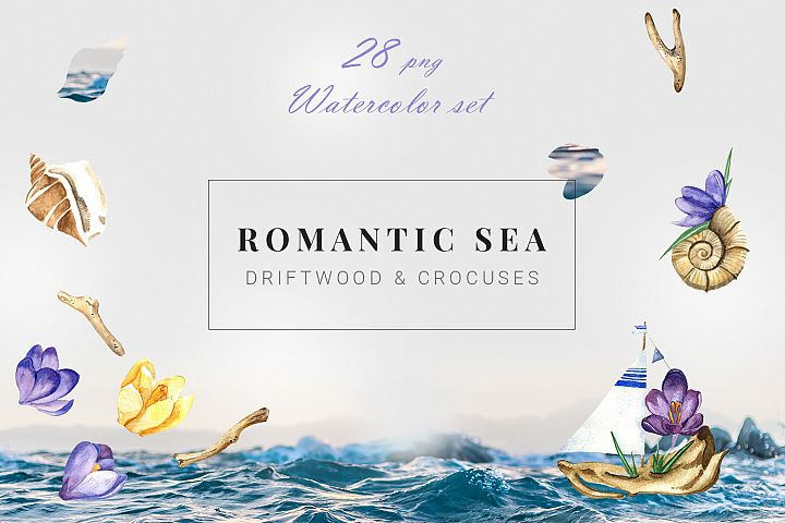 Romantic Sea Summer Watercolor Set
