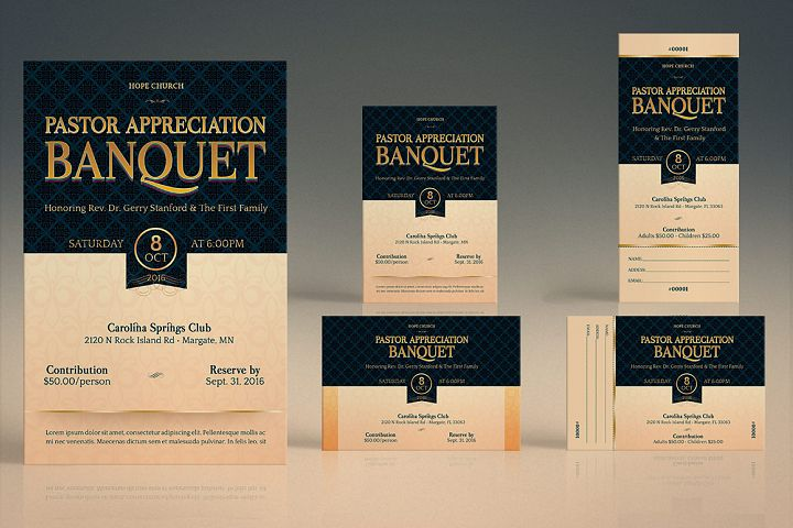 Pastor Appreciation Banquet Template Bundle