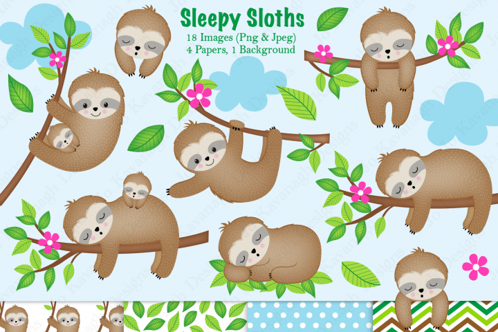Sloth clipart, Sloth graphics & illustrations, Cute Sloths