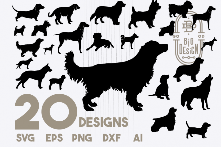 SVG Dog Bundle, 20 Dogs SVG Cut Files, Dog silhouette