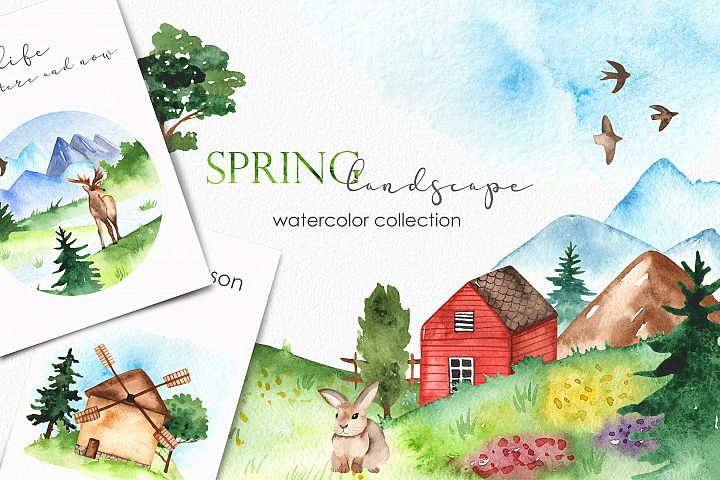Watercolor spring landscape. Clipart, frames, patterns