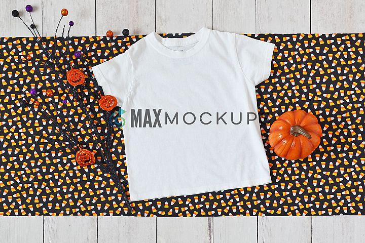 Kids t-shirt mockup, Halloween pumpkin, styled photography
