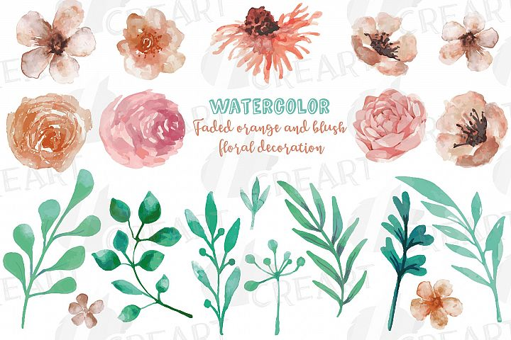 Faded orange and blush flowers and green leaves watercolor