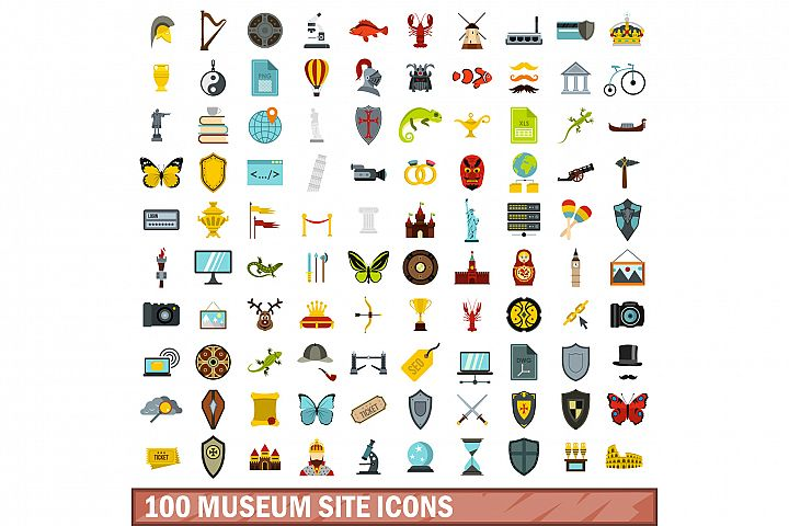 100 museum site icons set, flat style