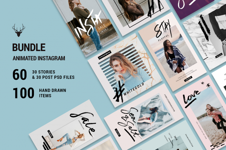 MINI BUNDLE Animated Instagram Pack - ANIMATED Story & Post Instagram Templates with Hand Drawn Elements