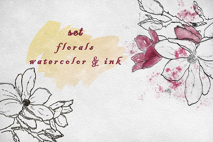 Set watercolor and ink flowers