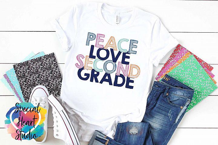 Peace Love Second Grade - A school or teacher SVG Cut File