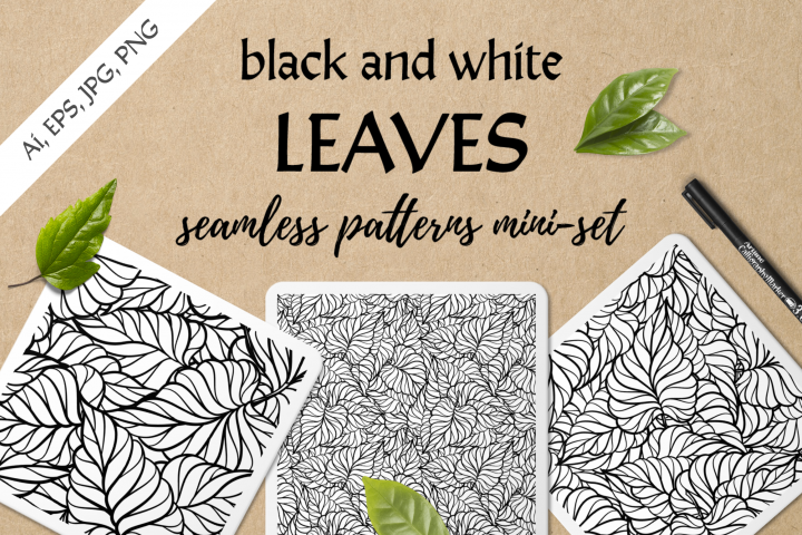 Black and white leaves seamless patterns mini-set