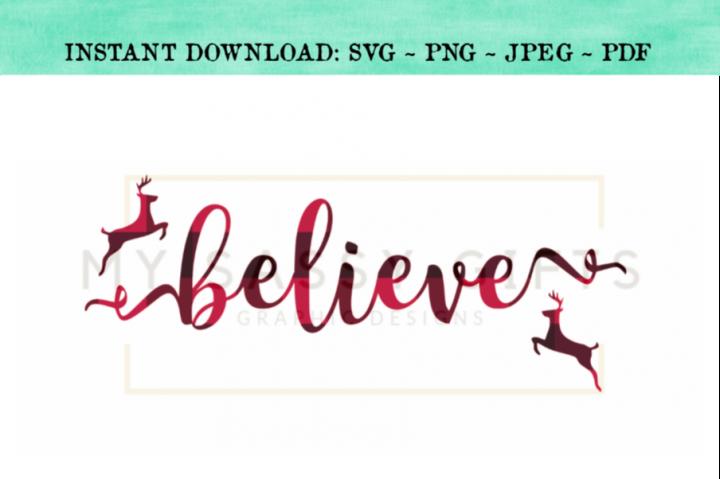 Believe With Santas Reindeer Christmas SVG Design