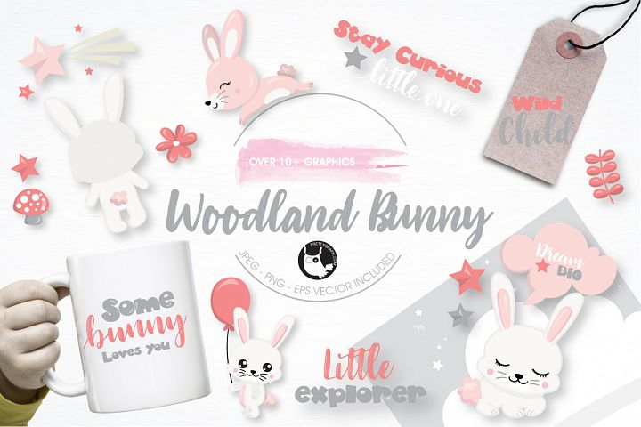 Woodland bunny graphics and illustrations
