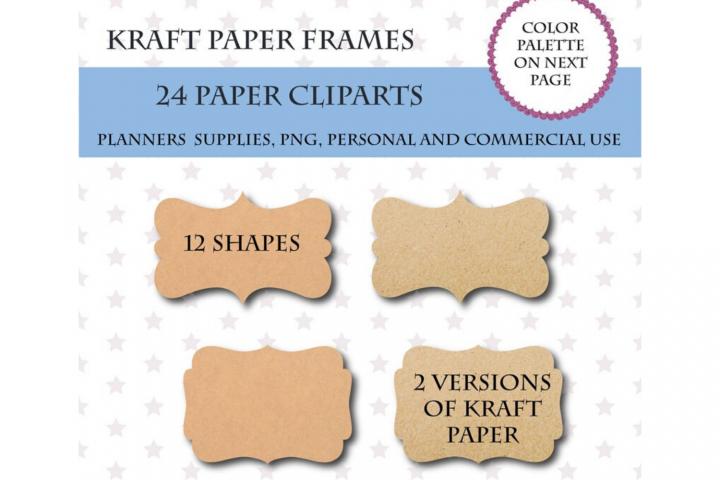 24 Digital Kraft Paper Labels, Cardboard Labels Clipart