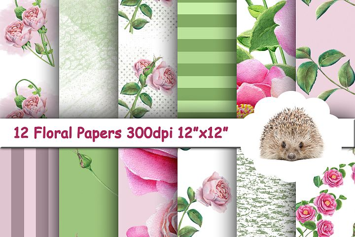 12 Pink and Green Backgrounds / Textures / Printable Papers