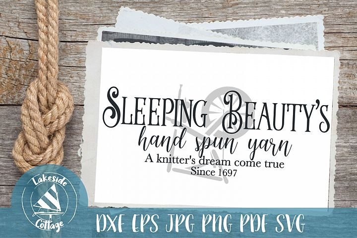 Sleeping Beautys hand spun yarn - spinning wheel svg dxf