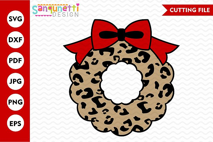 leopard print Christmas wreath SVG, holiday bow cutting file