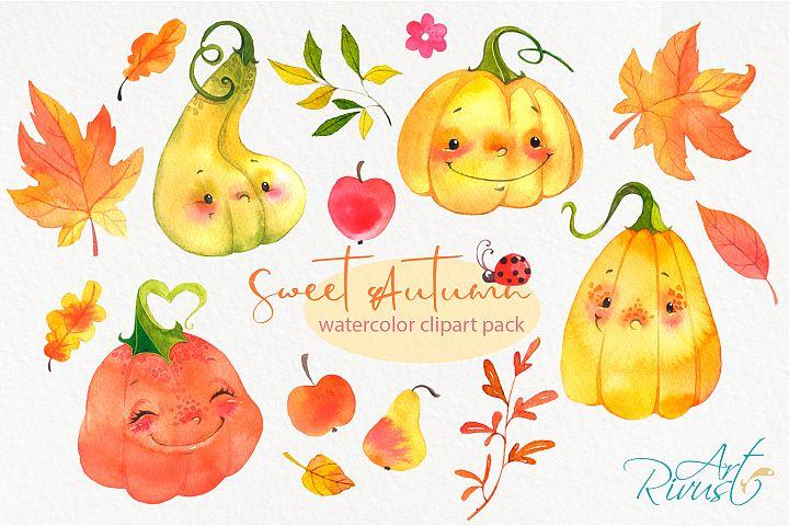 Cute watercolor pumpkins clipart. Fall leaves clip art.