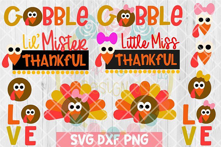 Thanksgiving Kids Turkey Bundle SVG DXF PNG 12Cutting Files