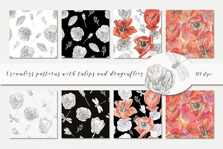 8 seamless patterns with tulips and dragonflies