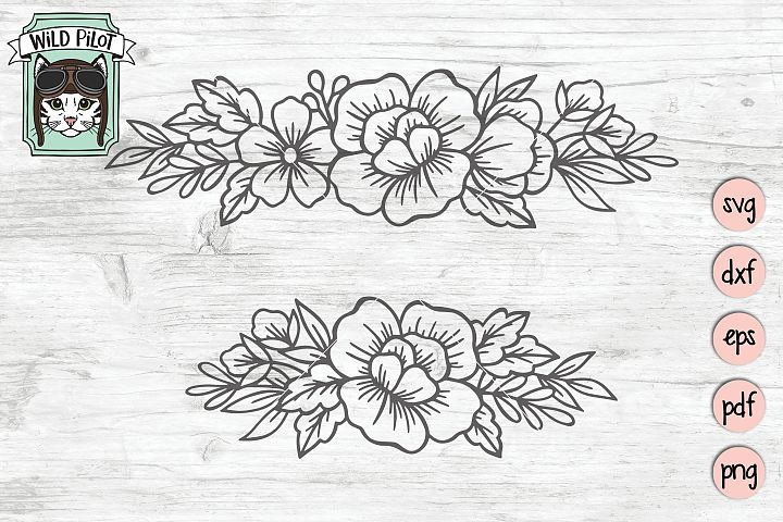 Flowers SVG file, Flower Border svg, Floral cut file, Frame