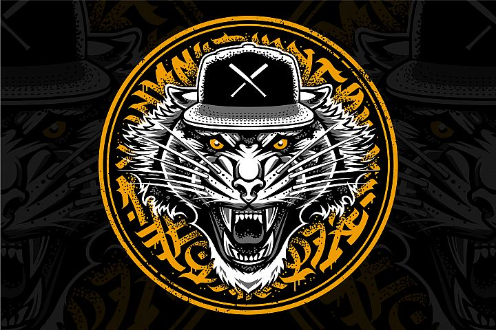 Tiger in Snapback Vector Art
