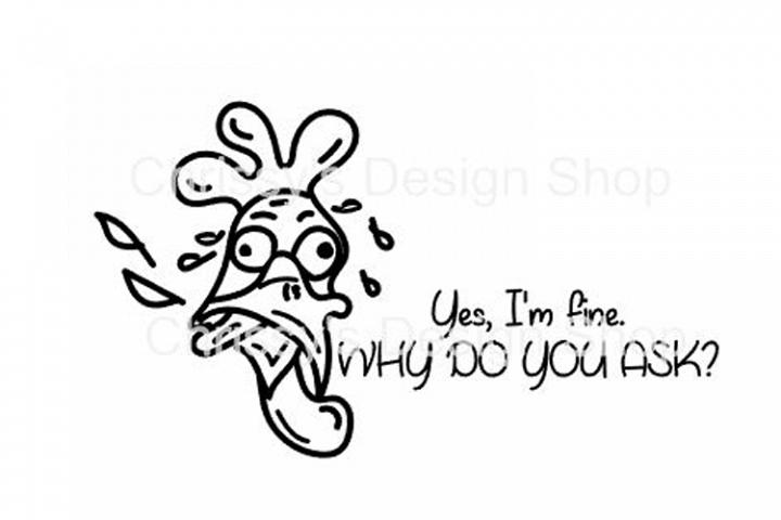 Silly Line Art chicken svg, dxf, eps