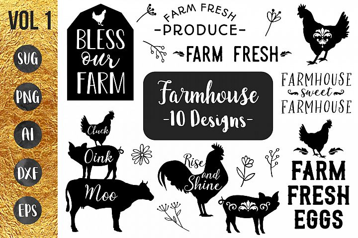 FARMHOUSE BUNDLE- 10 designs - svg files Cricut Silhouette