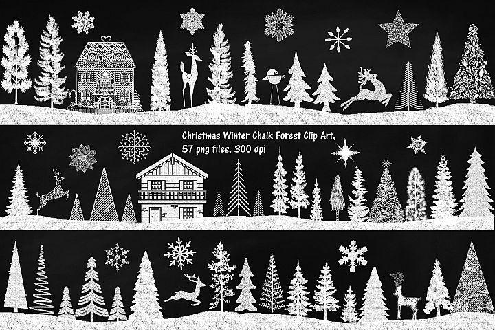 Chalk Textured Winter Forest Clip Art