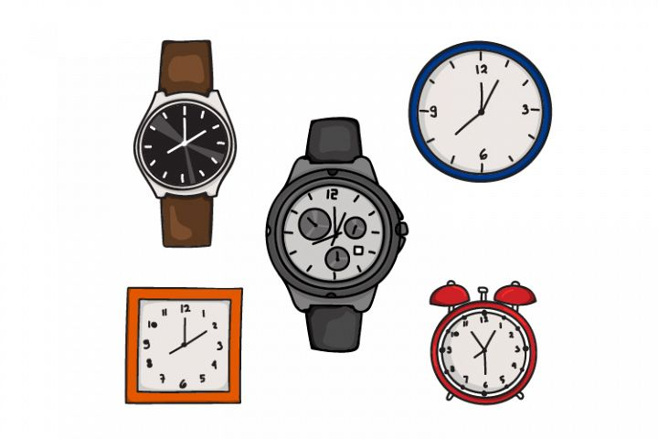 vector design collection of watches and wall clocks