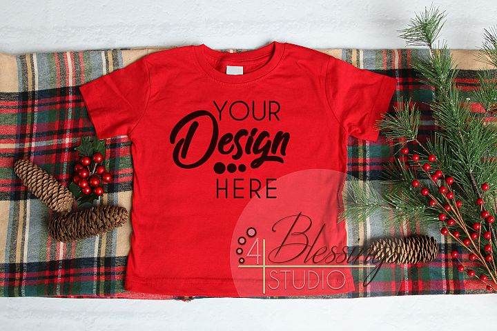 Christmas Kids Shirt Mockup Red Toddler Childrens Flat Lay