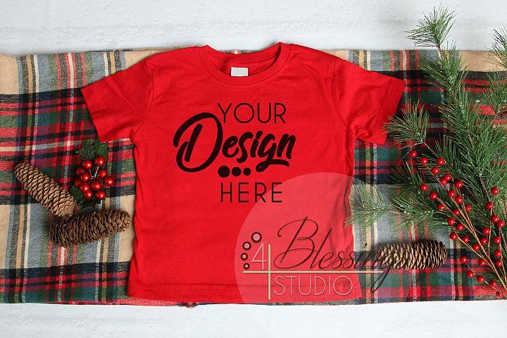 Christmas Kids Shirt Mockup Red Toddler Childrens Flat Lay