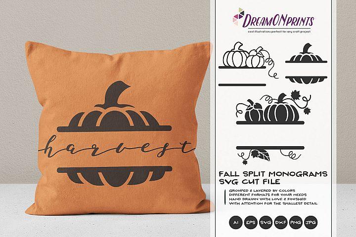 Pumpkin Split Monograms SVG Cut Files