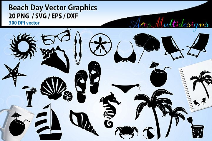 Beach day vector graphics / beach day silhouette clipart svg