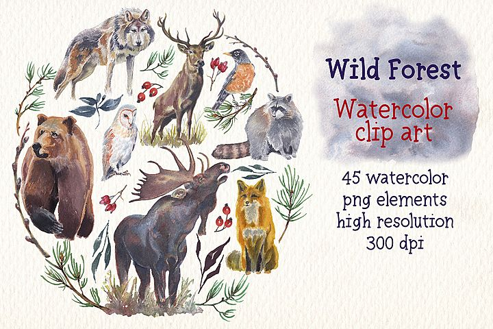 wild forest watercolor clip art